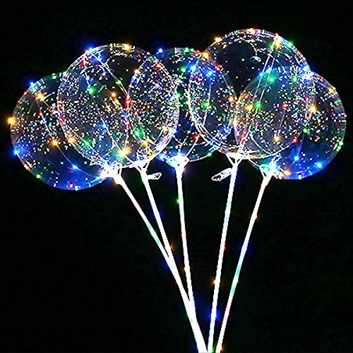 SUNKY 5pcs LED Light Up Bobo Balloons, Latex Clear Transparent Round Bubble Colorful Flash String Decorations Wedding Room Courtyard Kids Birthday Party Set Glow Christmas Decor with Ball Pump -