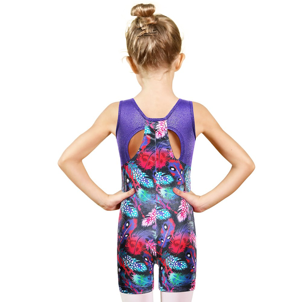 BAOHULU Toddler Girls Leotards for Gymnastics Sparkle Colorful Painted Tank Biketards 4-11Y B145_Feather_100