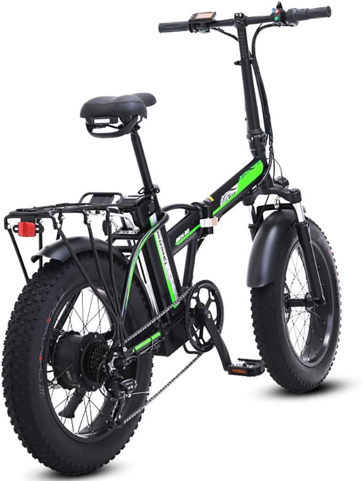LAYZYX 500W eléctrica Plegable Bicicletas, 48V para Hombre Bicicletas 7 Velocidad Variable 4 Pulgadas Fat Tire Camino de la Bicicleta de la Bici con Nieve Pedales Frenos de Disco hidráulicos