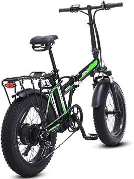 500W eléctrica plegable bicicletas, 48V para hombre bicicletas 7 Velocidad Variable 4 pulgadas Fat Tire camino de la bicicleta de la bici con nieve pedales frenos de disco hidráulicos,Negro,20inches: Amazon.es: Deportes y