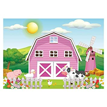 Funnytree 7x5ft Cartoon Farm Animals Party Backdrop Pink Barn Girl Baby Shower Birthday Photography Background Cow Grass Rustic Barnyard Scenic Banner