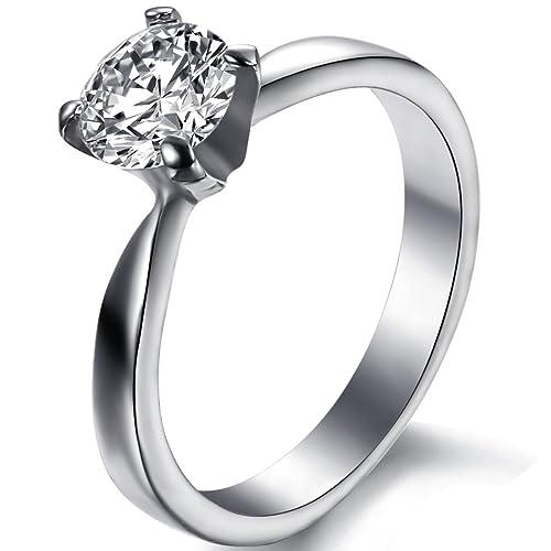 JewelryWe acero inoxidable anillo solitario con clear circonios compromiso de matrimonio o aniversario anillos 3 mm