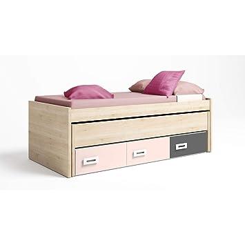 Muebles Baratos Cama Nido Juvenil, para 2 Personas, Subida A Domicilio, Color Pino danés y Rosa Nube, ref-23: Amazon.es: Hogar