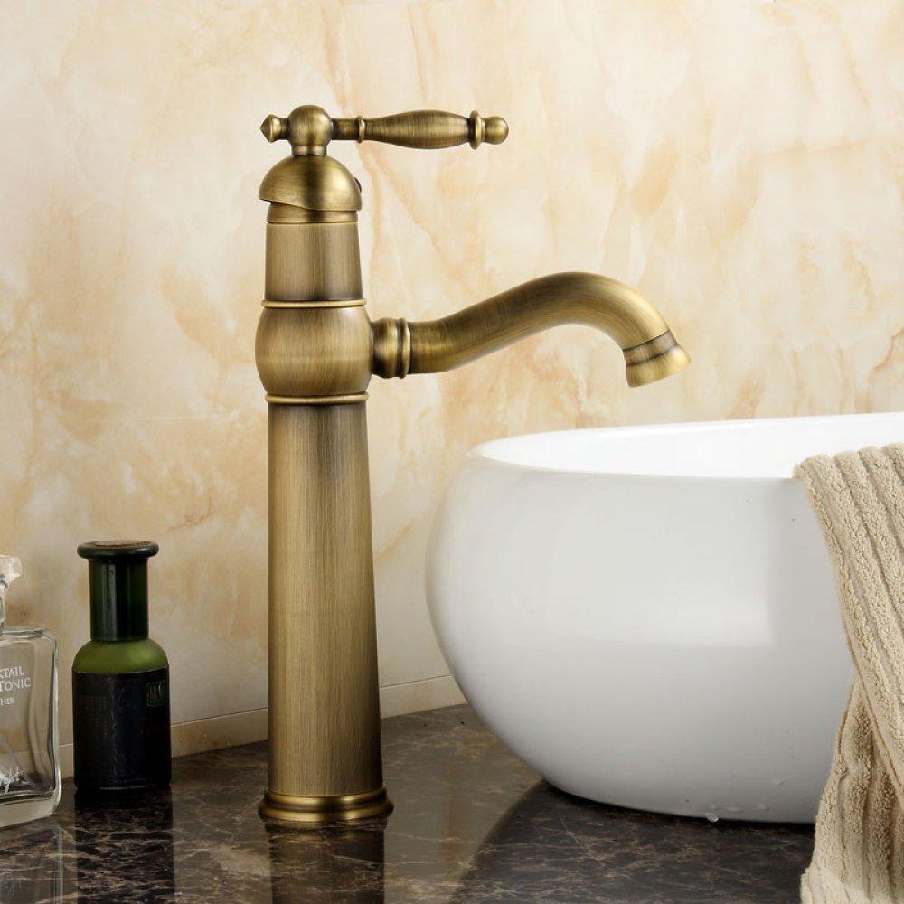 Kupfer einzigen Griff heiß und kalt Mischhahn Europäischen Stil Badezimmer antiken einzigen Loch Waschbecken Wasserhahn,bronze