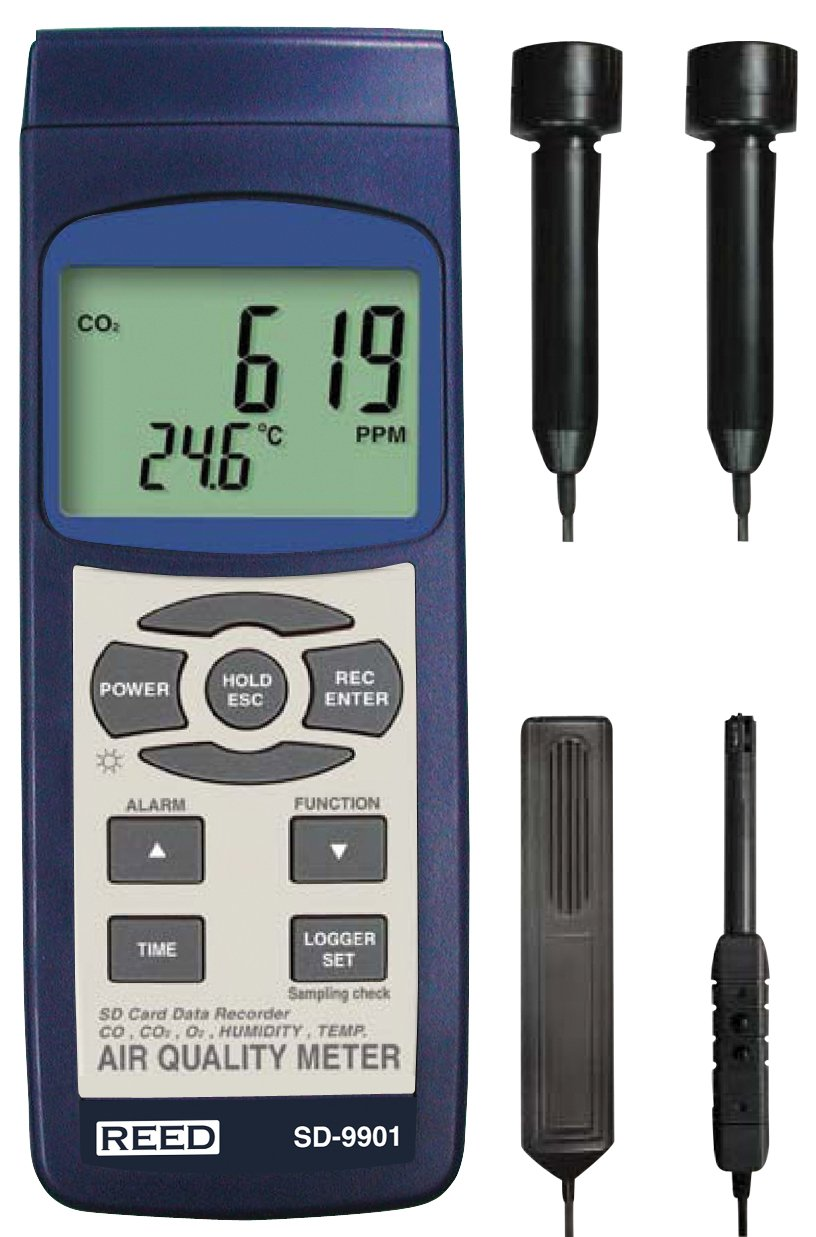 REED Instruments SD-9901 SD Series Indoor Air Quality Meter, Datalogger (O2, CO2, CO, Temp/RH)