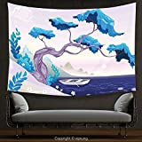 House Decor Tapestry Coastal Decor Fantastic Landscape Bonsai Tree Sea Water Lilies Daisies and Boat Blue Light Blue Lilac Wall Hanging for Bedroom Living Room Dorm