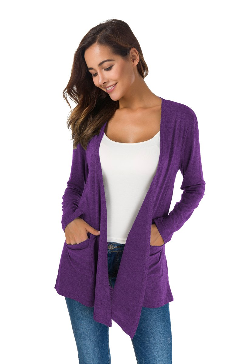 TownCat Women's Loose Casual Long Sleeved Open Front Breathable Cardigans with Pocket (Purple1, L) by TownCat (Image #2)