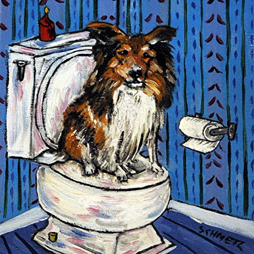 Sheltie Shetland Sheepdog in the Bathroom dog art tile coaster gift