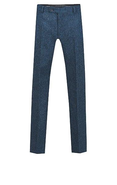 Harris Tweed Mens Blue Suit Trousers Regular Fit 100/% Wool Herringbone