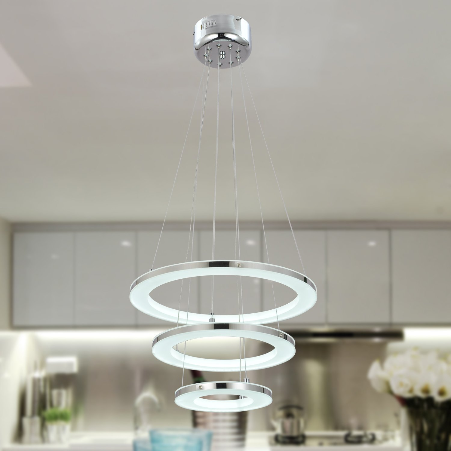 Unitary brand modern warm white led acrylic pendant light with 3 unitary brand modern warm white led acrylic pendant light with 3 rings max 33w chrome finish amazon aloadofball Choice Image