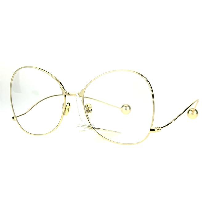 Amazon.com: Mujer moda lente transparente anteojos Metal ...