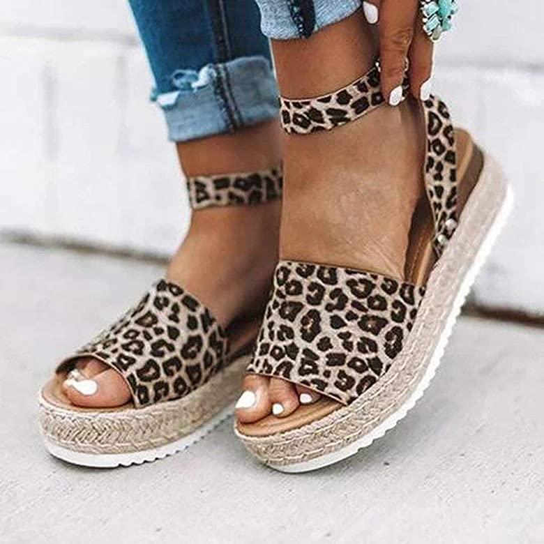 Sandalias Mujer Verano 2019 cáñamo Fondo Grueso Sandalias Punta Abierta Cuero Fondo Plano Zapatos Bohemias Romanas Hebilla Zapatillas Gris 35 43 riou