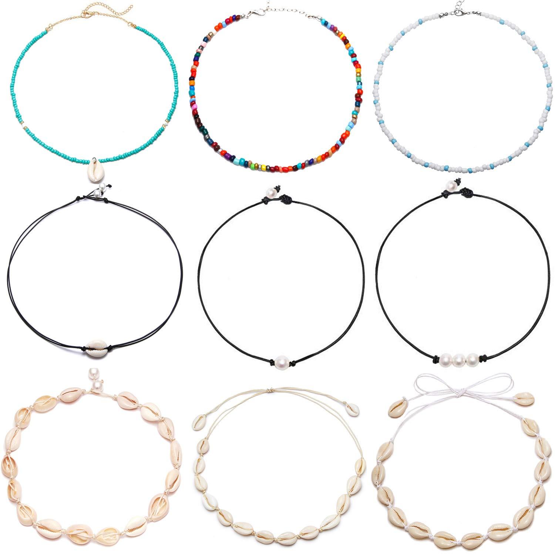 FUTTMI 9 Pieces Shell Pearl Choker Necklace Handmade Boho Rainbow Seed Beads Choker Adjustable for Women Girls by FUTTMI