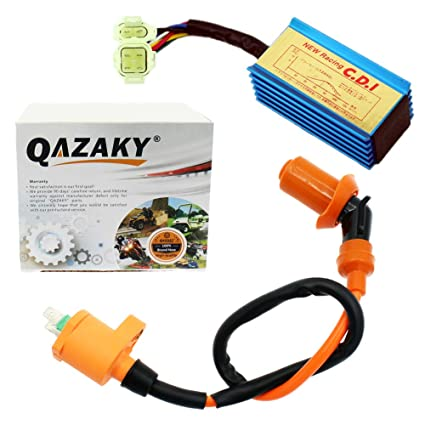 amazon com: qazaky performance racing ignition coil + cdi ac gy6 50cc -  110cc 125cc 150cc 4-stroke engines scooter atv go kart moped quad pit dirt  bike: