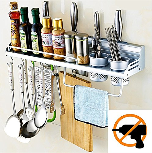Graces Dawn Aluminum Multipurpose Kitchen Utensils Holder Organizer (No Drilling)23.5inch Storage Stand Kitchen Utensils,Wall Mounted Kitchen Organizer Rack Include Spice Rack,Spoon Ladle Hanger,2Xcup