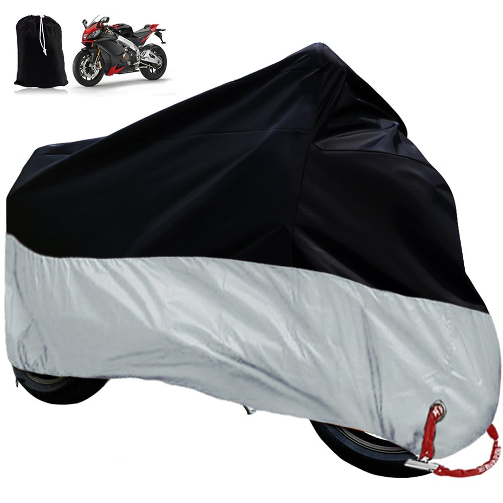 Big Ant Waterproof Motorcycle Cover-Breathable Sun Snow Motorcycle Cover Custom Fit Motorcycle Up to 108 Inches-Black & Sliver