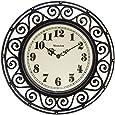Westclox 32021 Round Filigree Rubbed Clock, 12-Inch, Bronze