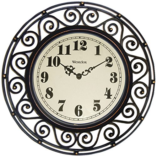 Westclox 32021 Round Filigree Rubbed Clock, 12-Inch, Bronze