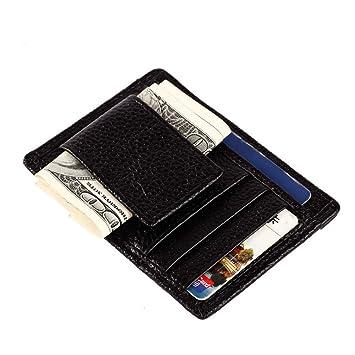 jinbaolai dinero clip bolsillo delantero de piel Para Hombre Tipo Cartera con Cierre Magnético y ID