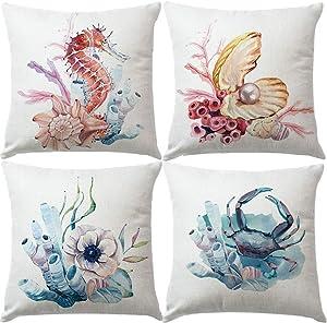 "7ColorRoom Set of 4 Sea Style &Coastal Pillow Covers Watercolor Sea Horse& Crab &Shells&Flower Cushion Cover Ocean Theme Cotton Linen Home Decorative Pillowcases 18""×18"" (Watercolor Sea)"