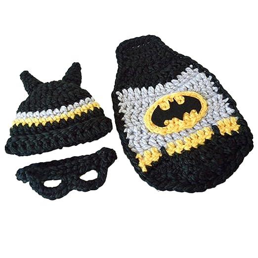 Crochet Newborn Baby Batman Superhero Hat Mask Cape Christmas Baby