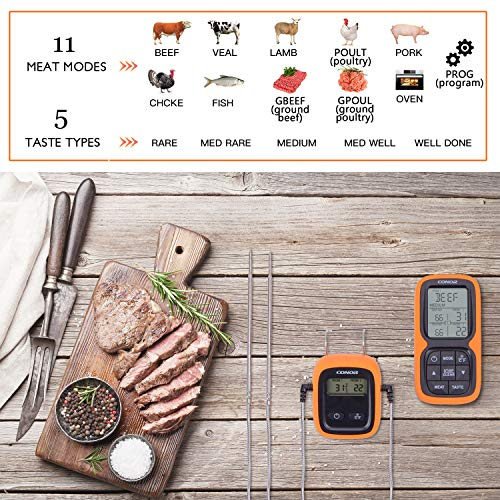 Conor Wireless Remote Digital Meat Thermometer, Cooking Food Thermometer with Dual Probe for Grilling Smoker BBQ Kitchen Oven