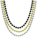 KONOV Bijoux Collier Homme - Chaîne - 3pcs 4mm Perle Lien - Acier Inoxydable - pour Homme - Couleur Or Noir Argent - Avec Sac Cadeau - F25156