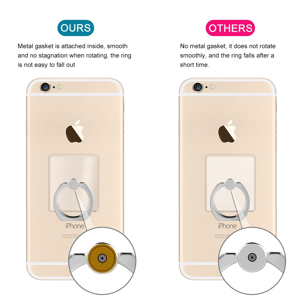 Acrylic Transparent Cell Phone Finger Ring Holder Stand, 4-Pack 360 Degree Rotation Universal Finger Grip Kickstand with Car Mount Hook for iPhone X 8 7 Plus Galaxy S9 S8