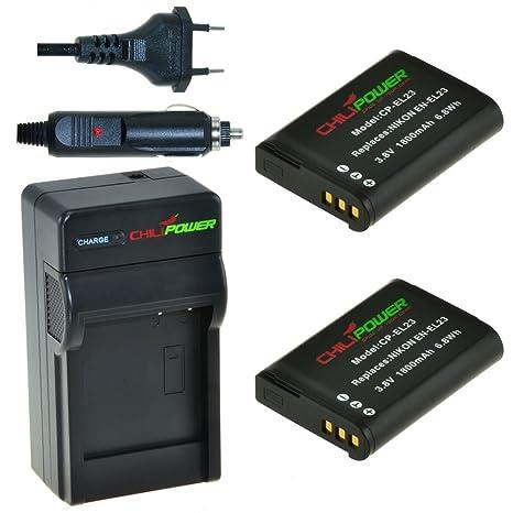 2x Batería + Cargador ChiliPower Nikon EN-EL23, ENEL23 1800mAh para Nikon Coolpix P600