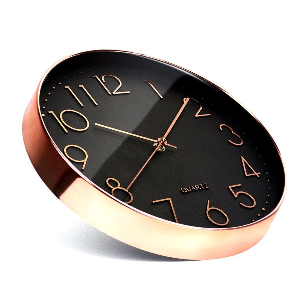 GREEM MARKET (グリームマーケット) 選べるカラー 掛け時計 壁掛け時計 モダン 新築 店舗 おしゃれ シンプル かっこいい ピンクゴールド ブラック デザイン 品番:GMS01546(ブラック) B079M6LQWJブラック