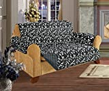 Elegance Linen Quilted Pet Dog Children Kids - FURNITURE PROTECTOR- Microfiber Slip Cover Black Love Seat Leaf Design
