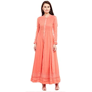 Ritu Kumar Pink Cotton A-Line Kurta Kurtas at amazon