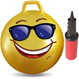 WALIKI TOYSホッケーボール3〜6歳(ホップティホップボール、ホッピングボール、ハンドル付き弾球、シット&バウンス、カンガルーバウンサー、ジャンプボール、18インチ、絵文字、ポンプ付属)