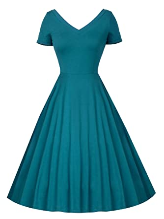36305ce41d68 LUOUSE Women's V-Neck Loose Plain Dresses Swing Casual Solid Color Short  Sleeve Pinup Dress