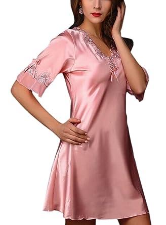 1a1ac8ebc3 WSPLYSPJY Women Sleepwear Sexy Lingerie V-Neck Nightgown Silk Pajama Dress  at Amazon Women s Clothing store