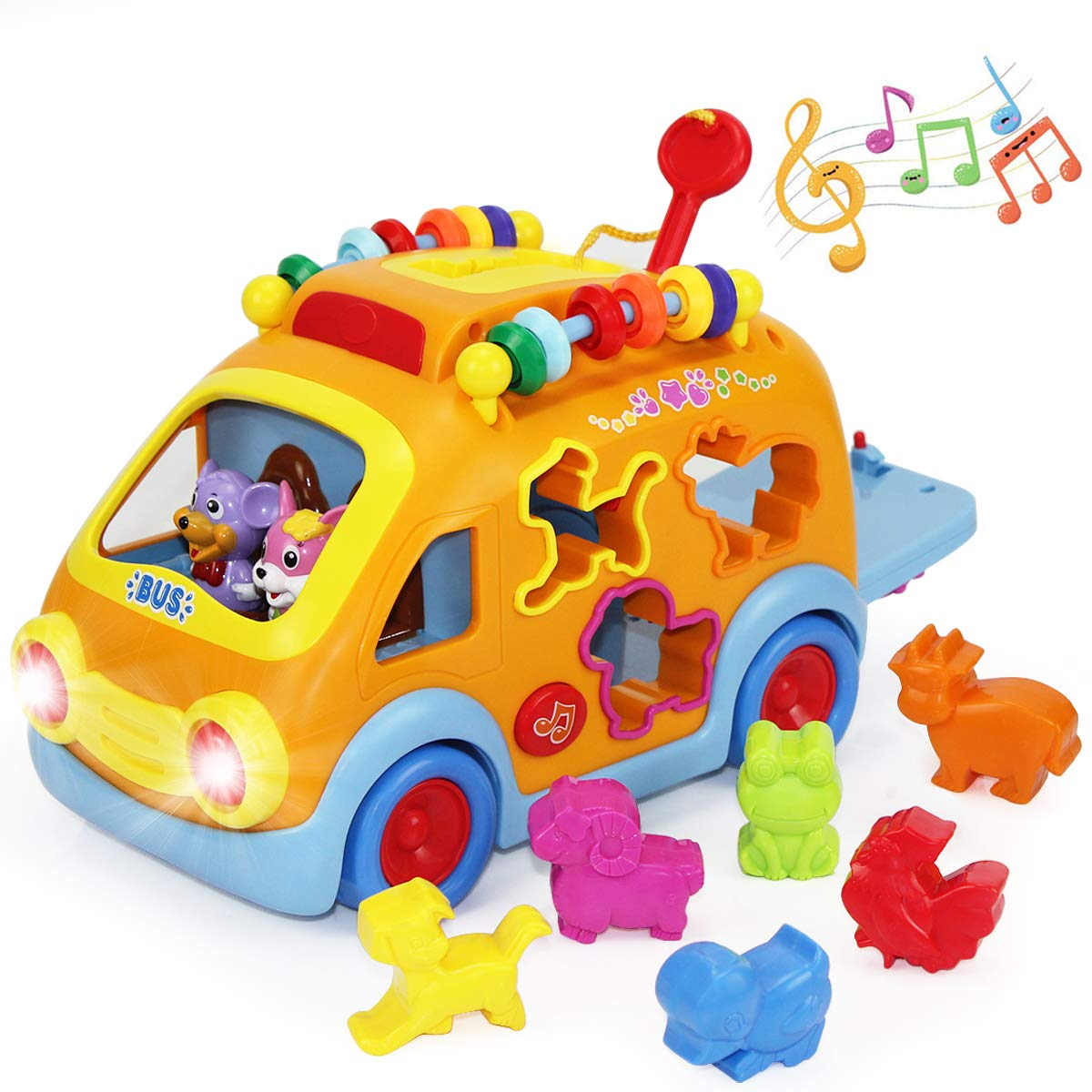 iPlay, iLearn Electronic Musical Bus, Baby Sensory Toy, 3D Animal Matching Car w/ Gear, Early Development, Learning, Educational Gift for 1, 2 Year Olds Girls Boys Toddlers Kids by iPlay, iLearn (Image #1)