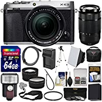 Fujifilm X-E3 4K Digital Camera & 18-55mm XF (Silver) with 50-230mm Lens + 64GB Card + Case + Flash + Battery & Charger + Tripod Kit