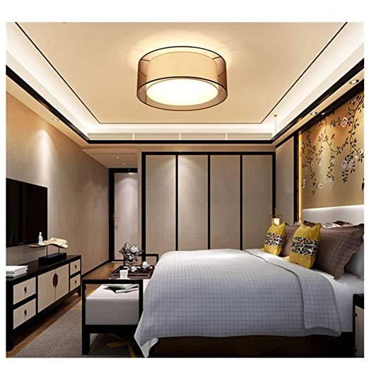 Lámpara de techo de tela LED, lámpara de techo redonda ...