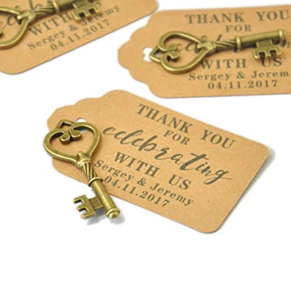 Amazon.com: Custom Wedding Tags, Antique Key Gift Tags, Personalized ...