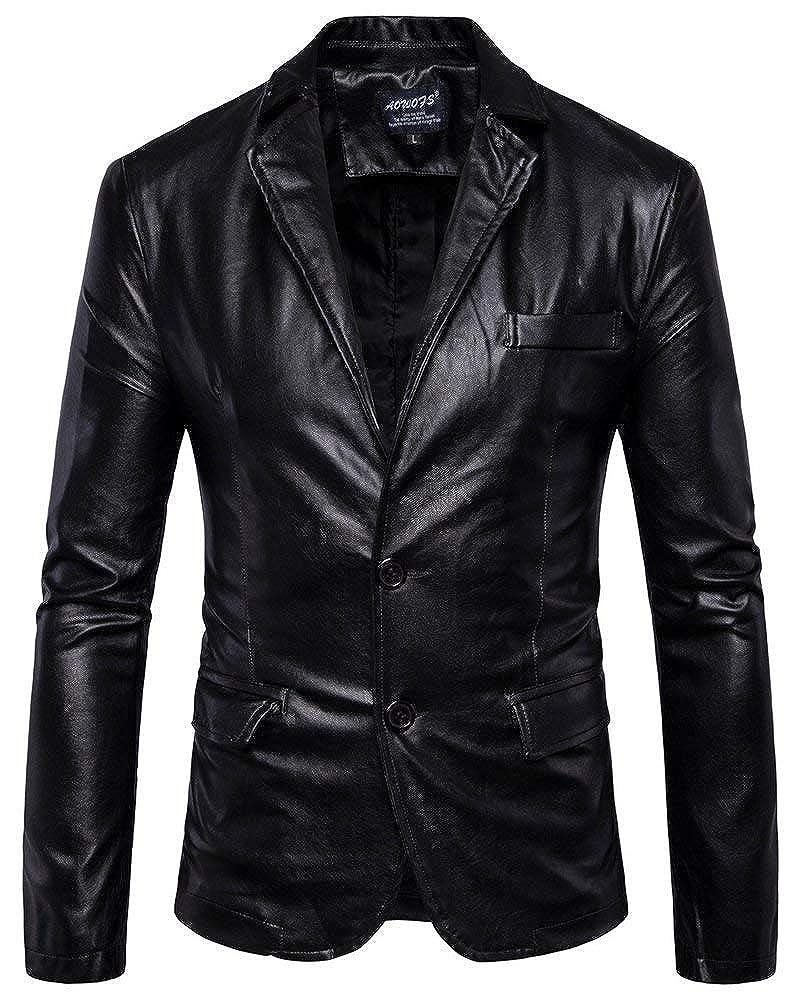 QK-Lannister Slim Fit Mens Blazer Blazer Coat Faux Leather Jacket Abbigliamento Biker Giacca da Moto Uomo Faux Fur Coat in Pelle Capispalla None