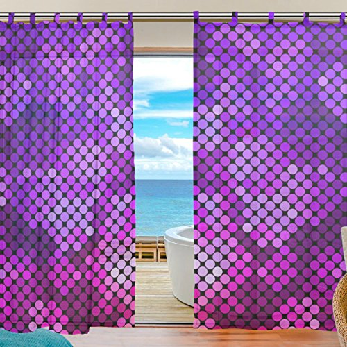 INGBAGS Bedroom Decor Living Room Decorations Hologram Pattern Print Tulle Polyester Door Window Gauze / Sheer Curtain Drape Two Panels Set 55x78 inch ,Set of 2