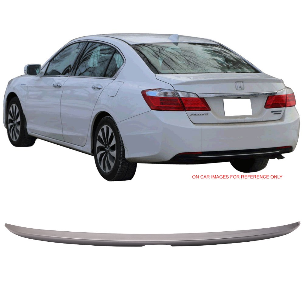 Pre-painted Trunk Spoiler Fits 2013-2016 Honda Accord |OE Style Painted #NH830M Lunar Silver Metallic ABS Trunk Boot Lip Spoiler Wing Deck Lid Other Color Available By IKON MOTORSPORTS | 2014 2015