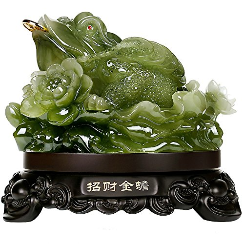 Frog Lucky - Wenmily Feng Shui Money Frog (Three Legged Wealth Frog or Money Toad) Statue,Feng Shui Decor,6.9