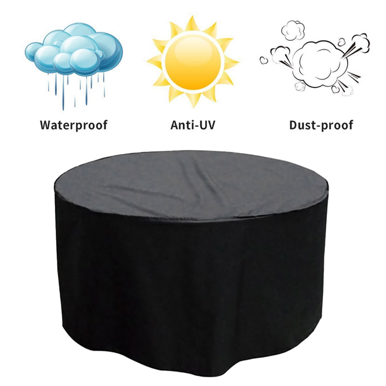 Round Furniture Cover Durable Daily Life Waterproof Dustproof Outdoor Table Chair Patio Set Cover Protector 50.39 x 27.95 Inch