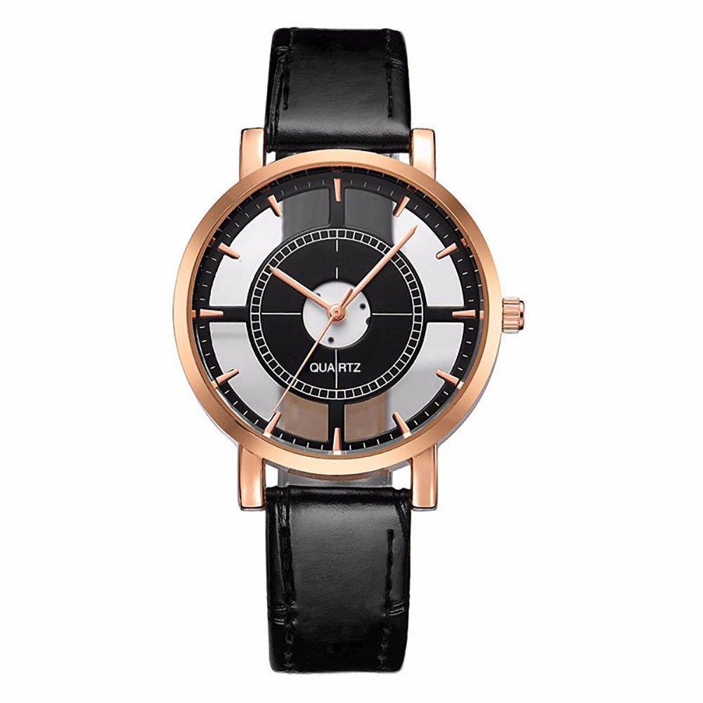 Darringls_Reloj,Relojes de Pulsera analógico de Cuarzo de Cristal para Reloj de Cuero de Moda Relojes Deportivos de Cuarzo para Relojes de Pulsera de Cuero: ...