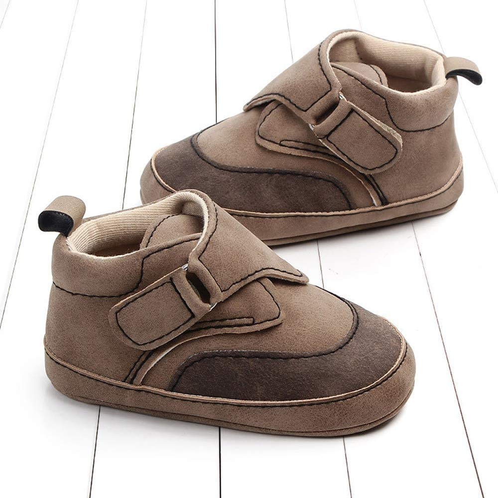 Baby Boys Girls First Walkers Shoes Coffee,Brown,Blue Outdoor for 0-15 Months Toddlers