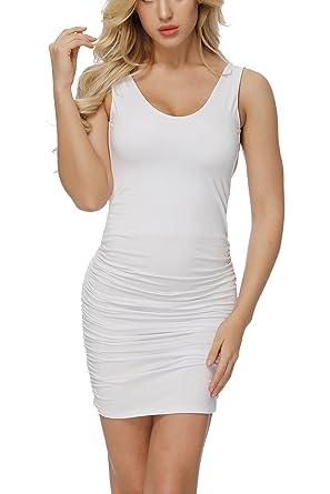 78555bebc82 YOSICIL Femme Robe à Bretelle Crayon Dos Nu Robe Sexy Plissée Uni Col V sans  Manches
