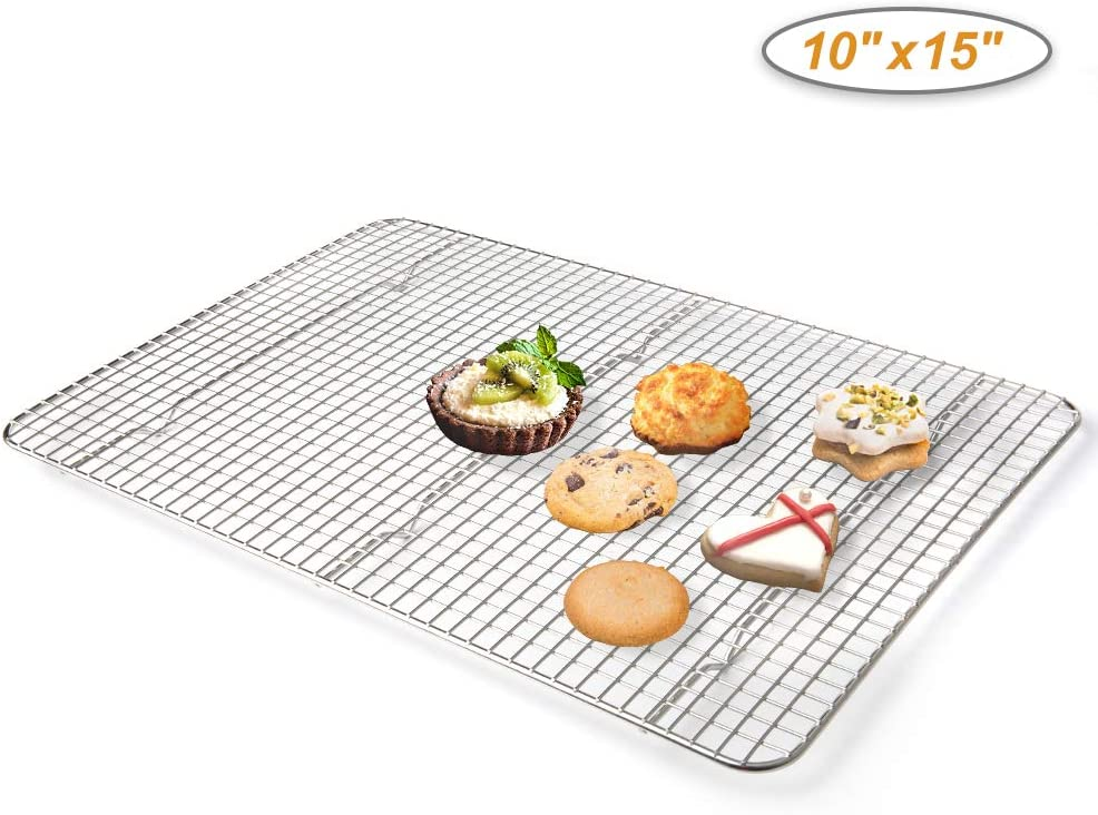 Secura Cooling Rack 100% 304 Stainless Steel, Cookie Wire Baking Racks for Baking, Cooking, Drying, Grilling Fits Quarter Sheet Pans, 10 x 15 Inches (Oven Safe & Dishwasher Safe)
