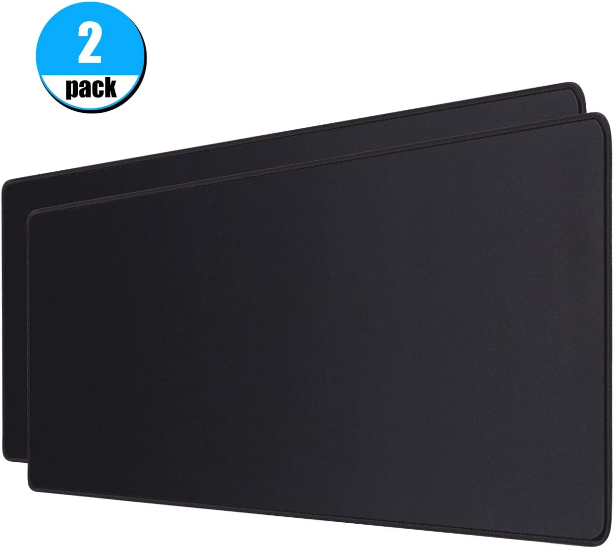 Office /& Home,31.5x11.8inch,Black Mouse Mat Keyboard Pad Mat for Gaming JIKIOU 2 Pack Extended Gaming Mouse Pad with Stitched Edges Large Mouse Pad with Premium-Textured Cloth Non-Slip Rubber Base