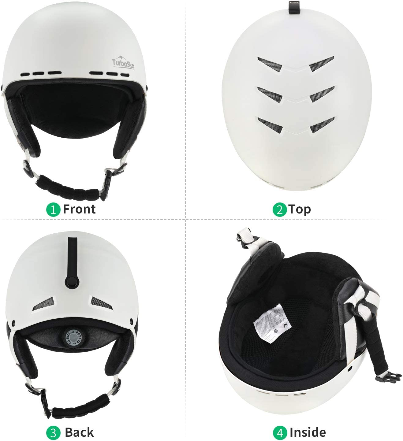 Snowboard Helmet Snow Sports Helmet Women and Youth TurboSke Ski Helmet ASTM Certified for Men